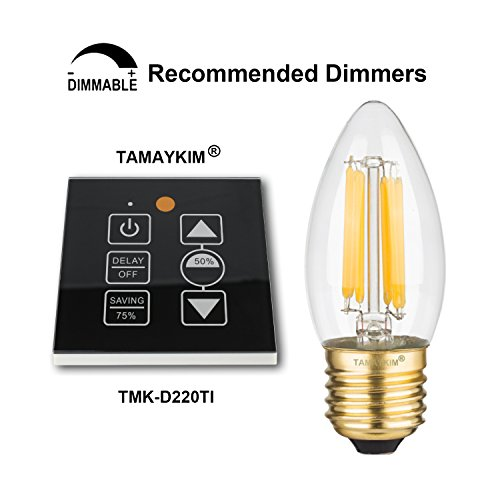 TAMAYKIM C35 6W Dimmbar Glühfaden LED Kerze Lampe, 3000K Warmweiß 600 Lumen, 60W Entspricht Glühlampe, E27 Fassung, Torpedo Form, 360° Abstrahlwinkel, 3er-Pack - 5