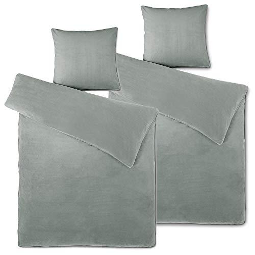 Aqua Bettbezug (aqua-textil Feelwell Bettwäsche 155 x 220 cm 4teilig Coral Fleece Bettbezug Thermo Flausch Silber grau)