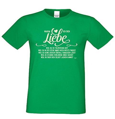 Modisches Geburtstags-Geschenk / T-Shirt für Männer mit Print Aufdruck: Warum ich Dich liebe Farbe: hellgrün Hellgrün