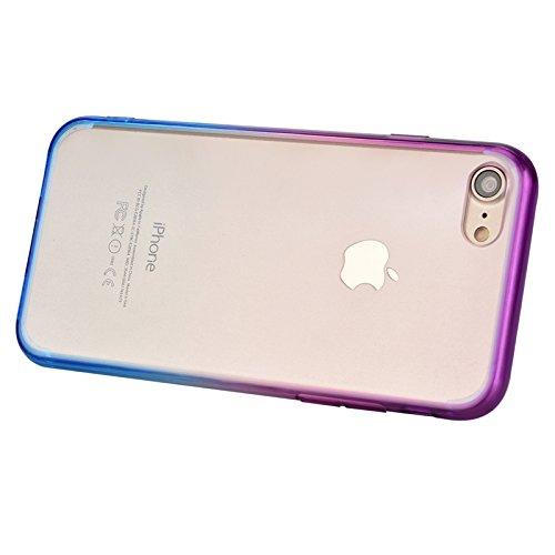 iPhone 7 Hülle, Yokata Durchsichtig Gradient Weich Jelly Weich Silikon Gel Case Ultra Slim Cover Schutzhülle Sehr Dünn Handyhülle + 1 x Kapazitive Feder Blau