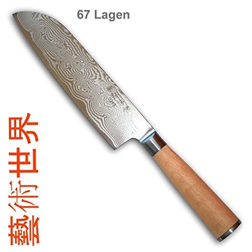 Coltello da cucina a 67 strati, in acciaio damascato, lama Santoku, impugnatura in betulla non trattata, edizione limitata, 180 x 42 x 2,5 mm