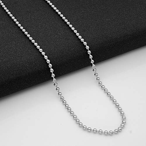 """Zivom® Ball Silver Rhodium Plated 316L Surgical Stainless Steel Long Necklace Chain 21"""" Men Women"""