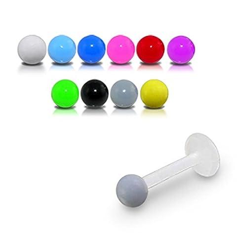 Bijou Piercing Labret pour lèvres 16Gx1/4 (1.2x6MM) Bioflex avec Boule UV couleurs solides 3MM Lot de 10 pièces couleurs assorties