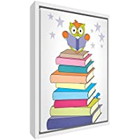 Feel Good Art eco-printed & Framed Nursery Tela con telaio in legno massiccio bianco ≪ Wally il gufo su una pila di libri ≫ Multicolore, 64x 44x 3cm (L)