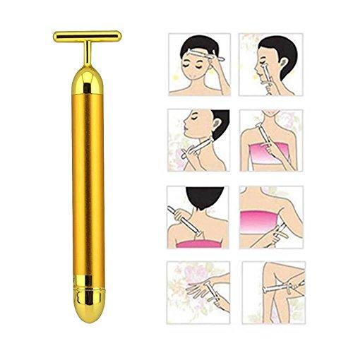 Enshey T-Form 24K Golden Beauty Bar, Puls wasserdicht Gold elektronische Gesicht Roller Gesichts Massagegerät, schlanke Vibrator für Face Lift Hautstraffung Anti-Aging (inklusive Batterie) (24k-face-lift)