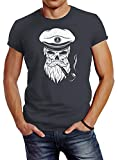 Neverless Herren T-Shirt Totenkopf Kapitän Captain Skull Bard Hipster Original Spirit Seemann Slim Fit dunkelgrau L