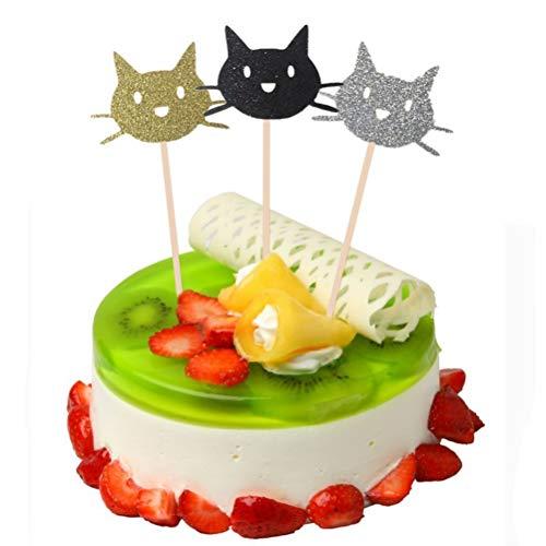 TOYMYTOY Katze Kuchen Topper Cupcake Picks | Geburtstagskuchen Dekorationen - Packung mit 24