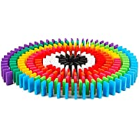 Seven Moon Wooden Domino Run Board Building Blocks Educational Toys for Children Boy Girl Games Kids Gift (120)