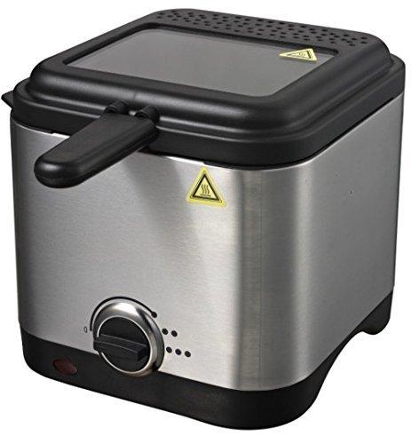 Friteuse 1,5 Liter Edelstahl Kaltzonen Fritteuse 900 Watt Fritöse bis 190°C