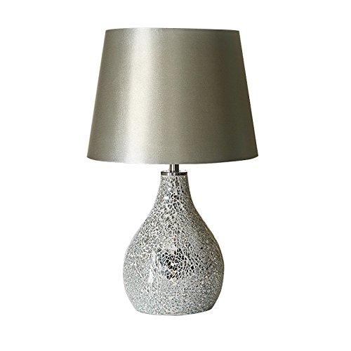 Modern Ava Crackle Mosaic Table Lamp - Silver