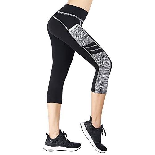 EAST HONG Women's High Waist Capri Leggings Sports Gym Running Leggings 3/4 Trousers with Pockets