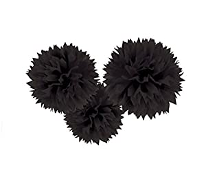 Amscan International - 18055 - 10 - 55 Colgante Decoración Fluffy Set, Negro