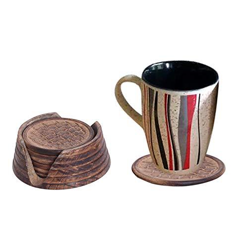 Einzigartige Dekor (Willart Set von 6 handgefertigten Holz-Untersetzern mit Halterung, saugfähig, Cool Drink Untersetzer mit Halter, einzigartiges Bar Dekor Zubehör Beste Weihnachten/Einweihungsgeschenk)