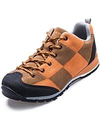 Makino para hombre Fashion parte superior de cuero zapatos de senderismo, hombre, Coffee/Orange