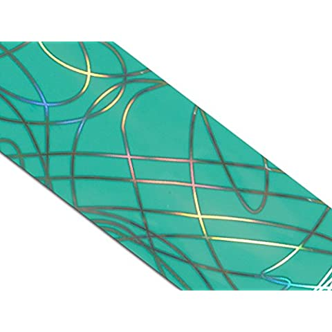 Pellicola Magic per trasferimento fotografie su carta Chrome metallizzato pellicola protettiva per Nailart e turchese Lines con fresa per unghie e design