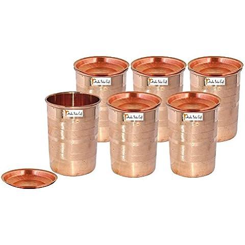 Set di 6 - Prisha India Craft ® cilindretto di rame con coperchio volume 300 ml / 8.4535 OZ I viaggiatori tazza di rame I set di bicchieri di rame , Drinkware set di vetreria - Regalo di natale - Bicchiere Viaggiatore