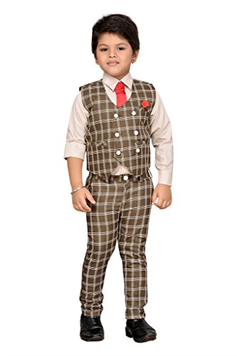 AJ Dezines Kids Party Wear Suit Set for Boys (826_FAWN_1)