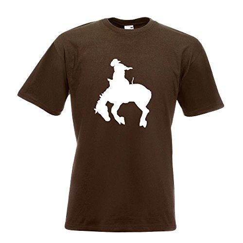 KIWISTAR - Cowboy mit Pferd Rodeo 2 T-Shirt in 15 verschiedenen Farben - Herren Funshirt bedruckt Design Sprüche Spruch Motive Oberteil Baumwolle Print Größe S M L XL XXL Chocolate