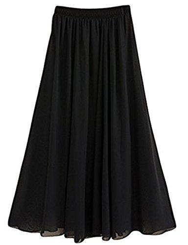 CoutureBridal® Femme Jupe longue Jupe dété Elastic Ceinture Chiffon 12 Couleurs Noir