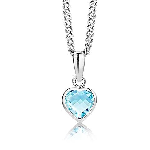 ByJoy 925 Heart Shaped Sky Blue Topaz Pendant on a