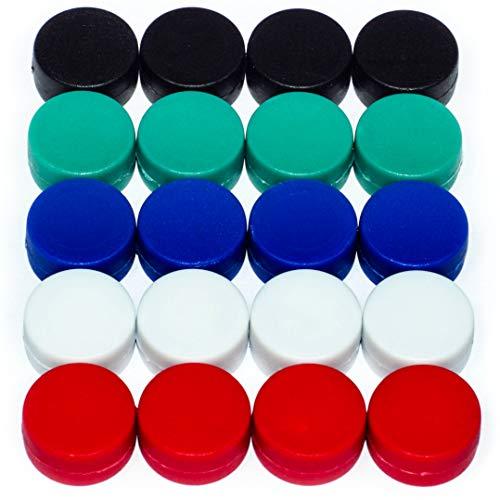 20 Bunte Magnete - EXTRA STARK Neodym gummierte Schutzschicht (ø12x6mm) | einzigartig | Starke neodym Magnete für Magnettafel, Whiteboard, Glasmagnettafel und als Kühlschrankmagnete - Kraft-papier Mache
