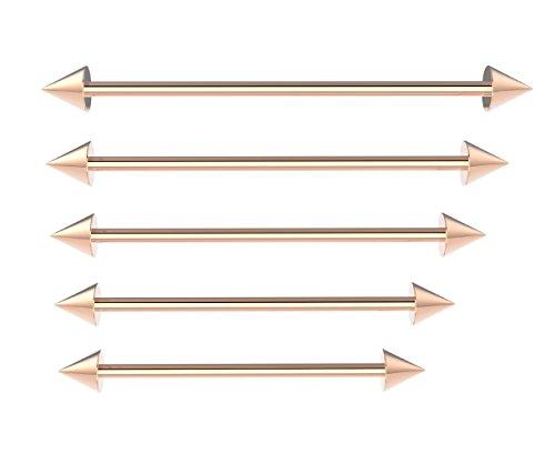 18K Rose Gold Industrial Barbell Ohr Piercing Bar Chirurgenstahl mit Kugeln oder Zapfen (Ohr Barbell Industrial)