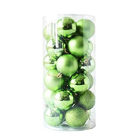 Gaddrt 24pcs Glänzender und polierter glatter Weihnachtsbaum-Ball verziert Dekorationen 1.5 '' (Grün)