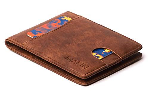 MAKIN Design Portemonnaie mit Geldklammer und RFID Schutz - Premium Geldbörse mit Geldscheinklammer - Geldclip & Kartenetui - Kleiner schlanker Geldbeutel - Smart Wallet in braun