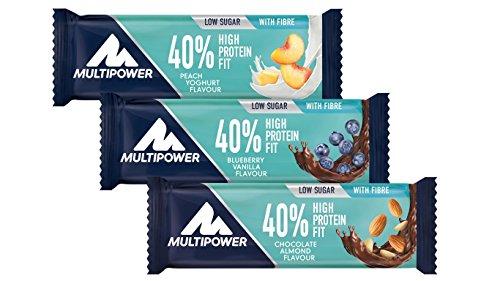 Multipower 40{9e49b06729af9e198edf3df4f2ee5ef2de120d20bab458d761a3fb7d52b15f77} Protein Fit - 24 x 35 g Eiweißriegel Box - Mix Box - Fitnessriegel mit 40 {9e49b06729af9e198edf3df4f2ee5ef2de120d20bab458d761a3fb7d52b15f77} hochwertigem Milchprotein - 14 g Eiweiß pro Proteinriegel