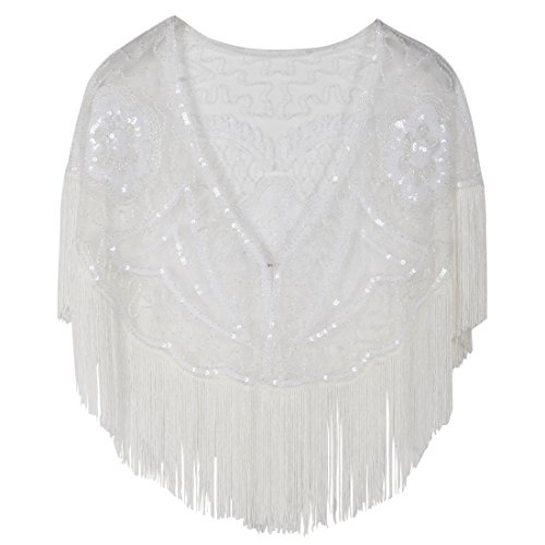 PrettyGuide Damen Stola Abendkleid Perlen Pailletten Franse 20er Jahre Schal Weiß