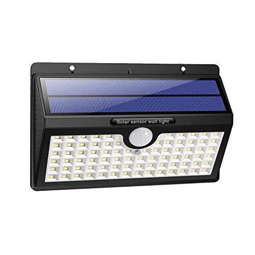 HETP Luz Solar/Foco Solar Exterior 78 LED con Sensor de Movimiento 2000mAh Iluminación de Seguridad Luces Solares/Lámpara Solar Exterior Inalámbrico Impermeable para Jardín, Garaje, Camino