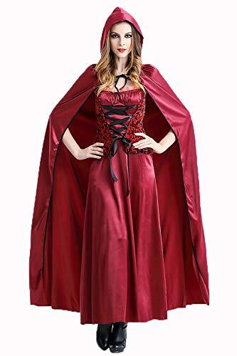Damen Halloween Kostüm, Adult Sexy Rotkäppchen Cosplay Kostüm, Märchen Kostüm Outfit,A,XXL