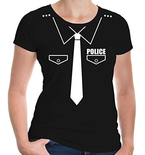 Police Womens Shirt Kostüm - buXsbaum® Damen Girlie Kurzarm T-Shirt tailliert Police-Dress Fasching Karneval Party | XL black-white Schwarz