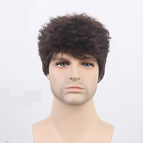 Xthy parrucca da uomo capelli corti scompigliati e arruffati, giovanile, alla moda parrucca maschio scoppi di capelli ricci castani corti