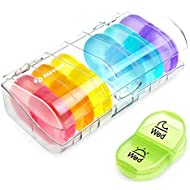 AUVON iMedassist Portable Daily Pill Organiser (Twice-A-Day), Weekly AM/PM Pill Box Case with Moisture-Proof Design for Purse and Pockets to Hold Vitamins, Fish Oil, Supplements and Medication