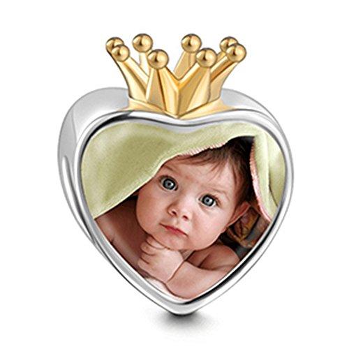 Soufeel Foto Charm Damen Bead Golden Krone Personalisieren Sie Ihre Charms Beads 925 Sterling Silber Geschenk für Mutter, New Mother, Freundin
