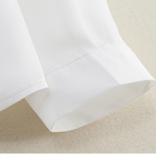 LONUPAZZ blouse manches longues femme femmes chemisier en mousseline t-shirt Blanc