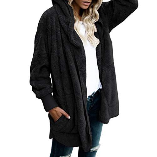 Juleya Faux Fur Teddy Bear Coat Chaqueta Moda Mujer Abrigo de Punto Abierto con Capucha Mujer Manga Larga Fuzzy Jacket Black M