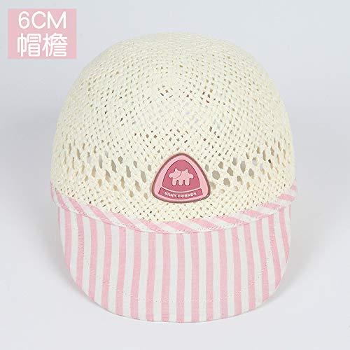 mlpnko Visera para bebé, Sombrero de Paja, Gorra para el Sol Hecha a Mano, Gorra de Bebe Delgada para bebé, Rosa (47-49cm)
