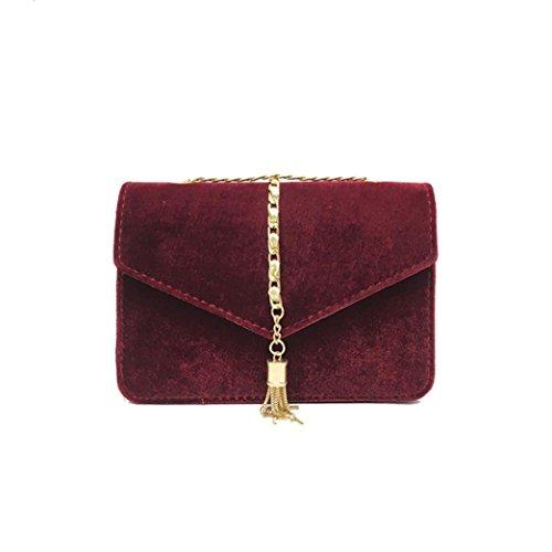 Longra Velour Donna Solid colore di modo di Pleuche nappa singola spalla Bag Messenger Bag Rosso Comprar Barato Con Mastercard Barato 100% Garantizada wgtYz6eWN