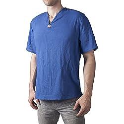 Lofbaz Hombre Thai Camiseta de cuello en V Short Sleeve Azul oscuro M