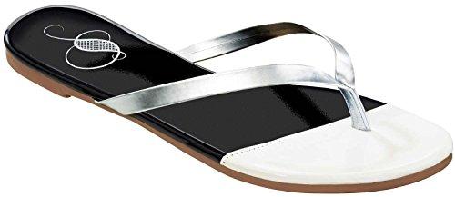 ESMARA® Damen Zehentrenner schwarz / weiß / silber