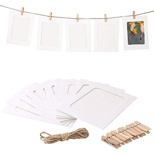 Ducomi cornice foto polaroid 13 x 10 cm - 30 portafoto in carta kraft con corda e mollette - decorazione multipla fai da te - cornici personalizzabili con creatività - ideali per feste ed eventi