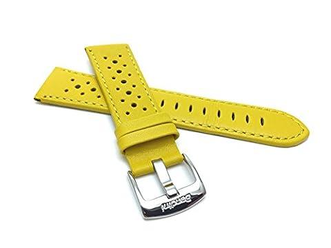 18mm bracelet de montre pour hommes en cuir véritable,jaune, perforé, style GT Rally, boucle en acier inoxydable, aussi disponible en noir, blanc, rouge, orange, bleu royal, marron et rose