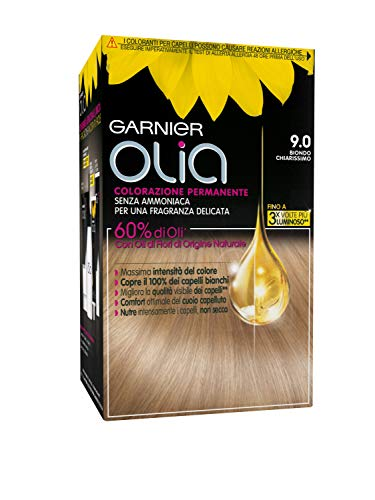 Garnier Olia Colorazione Permanente Senza Ammoniaca, Migliora la Qualità dei Capelli, Copre i Capelli Bianchi, 9.0 Biondo Chiarissimo