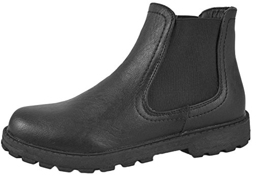 NEW BOYS BLACK SCHOOL FAUX LEATHER CHELSEA DEALER ANKLE BOOTS SHOES PULL ON SIZE   3 UK Black - Pull On
