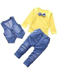 Conjuntos de Bebé Niños,❤ Modaworld Camiseta de Manga Larga para niños bebé con Estilo Denim + Pantalones + Chaleco Conjunto de Ropa…