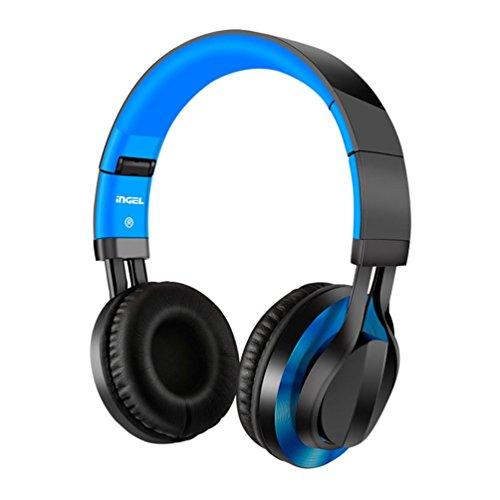 Preisvergleich Produktbild Xshuai 1.2m faltbare über Ohr-Stereokopfhörer verdrahtete weiche Ohrenschützer des Kopfhörer-für iPhone PC (Blau)
