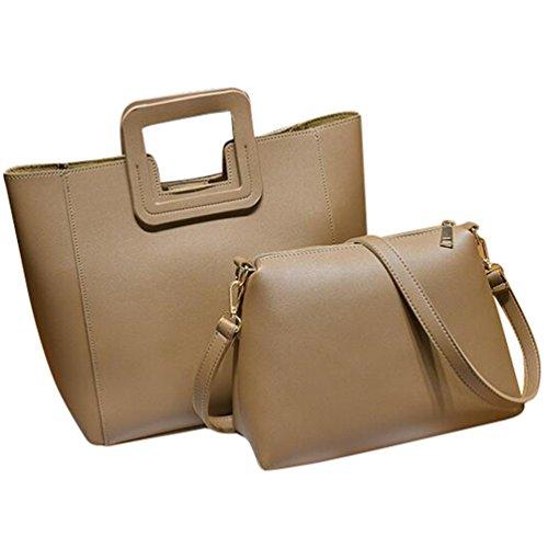 Baymate Damen Vintage PU Leder Groß Handtasche + Schultertasche 2pcs Beutel Khaki