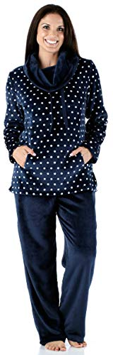 Sleepyheads biancheria da notte per donna set pigiama 2 pezzi in pile collo ad anello abbigliamento da casa, blu marino pois (sh1144-4067-eu-xl)